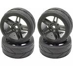 1/10 On-roadblack Split 5 Spoke Wheels and V Tread Rubber Tire (APX5001)