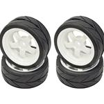 1/10 On-road White 5 Spoke Wheels and V Tread Rubber Tire (APX5015)