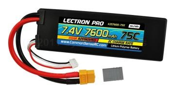 Lectron Pro  7.4V 7600mAh 75C Lipo Battery with XT60 Connector +  XT60 to Traxxas (2S760075X)