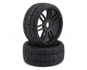 Belted Pre-Mounted 1/8 Buggy Tires - Pair (Black) (S5) (GRPGTX01-S5)