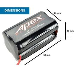 Apex  4.8v 2000mah Nimh Square Receiver Battery (APX7301)