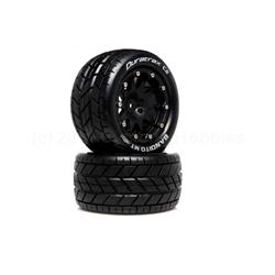 Bandito MT Belted 2.8 2WD Mounted Rear Tires, 0 Offset, Black (2) (DTXC5515)