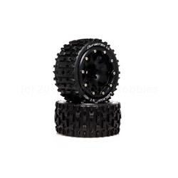 Lockup ST Belted 2.8 2WD Mounted Rear Tires, .5 Offset, Black (2) (DTXC5533)