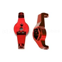 Caster blocks, 6061-T6 aluminum (red-anodized), left and right